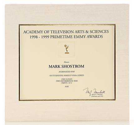 THE X-FILES (1993 - 2002) - Mark Shostrom's Emmy Nomination Certificate For Outstanding Makeup For A Series
