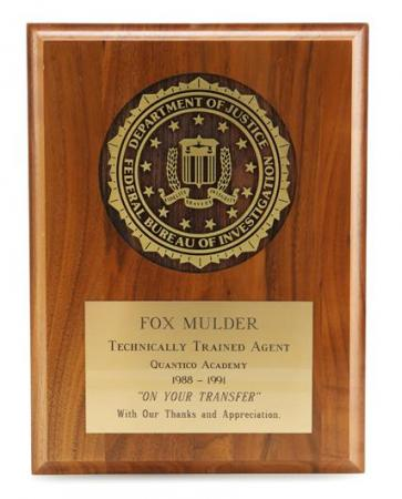 THE X-FILES (1993 - 2002) - Agent Fox Mulder's (David Duchovny) Fbi 'Technically Trained Agent' Plaque
