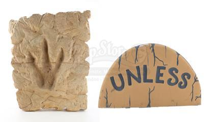 IN SEARCH OF DR. SEUSS (1994) - Dr. Seuss Office Carved Foam Dinosaur Footprint Relief and 'Unless' Stone