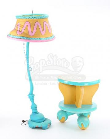IN SEARCH OF DR. SEUSS (1994) - Dr. Seuss-Style Floor Lamp and Round Yellow Side Table With Turning Top