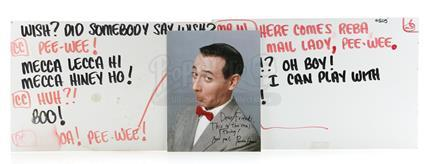 PEE-WEE's PLAYHOUSE (1986 - 1991) - Two Production Pee-Wee Herman (Paul Reubens) Cue Cards and Pee-Wee Signed Photo
