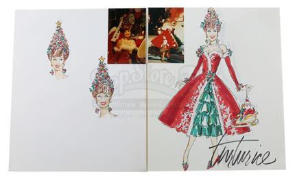 PEE-WEE's PLAYHOUSE (1986 - 1991) / CHRISTMAS AT PEE-WEE's PLAYHOUSE (1988) - Hand-Drawn Miss Yvonne (Lynne Marie Stewart) Christmas Costume and Christmas Tree Headdress Designs