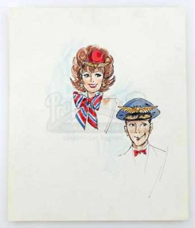 PEE-WEE's PLAYHOUSE (1986 - 1991) - Hand-Drawn Pee-Wee Herman (Paul Reubens) and Miss Yvonne (Lynne Marie Stewart) Costume Design