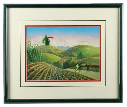 GREEN GIANT COMMERCIALS (1970s) - Jolly Green Giant and Sprout Framed Animation Set-Up With Hand-Painted Background