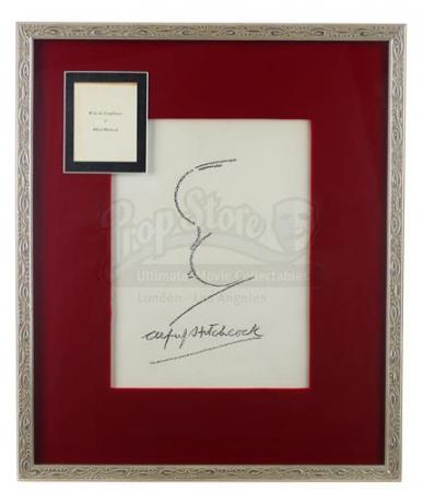 ALFRED HITCHCOCK PRESENTS (1955 - 1960, 1960 - 1962) - Framed Alfred Hitchcock Autograph and Signature Profile Caricature