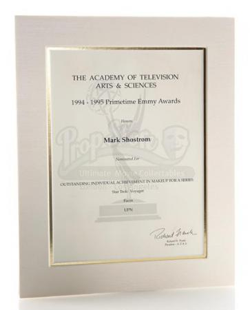 STAR TREK: VOYAGER (1995 - 2001) - Mark Shostrom's Emmy Nomination Certificate For Outstanding Makeup For A Series 1994-1995