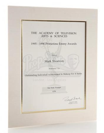 STAR TREK: VOYAGER (1995 - 2001) - Mark Shostrom's Emmy Nomination Certificate For Outstanding Makeup For A Series 1995-1996